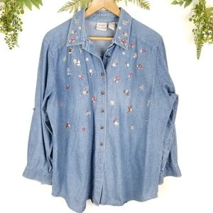 🌼VINTAGE《149》denim shacket flowers